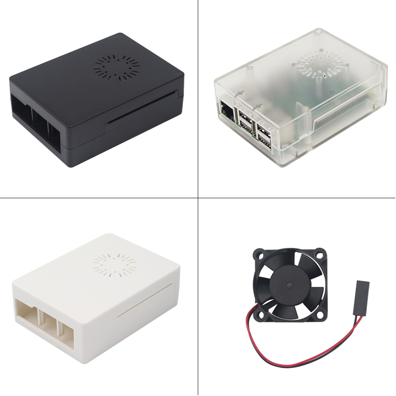 Newest Raspberry Pi 3 B+ Case ABS Box Plastic Cover + Cooling Fan Black White Transparent For Raspberry Pi 3 Model B+/3/2