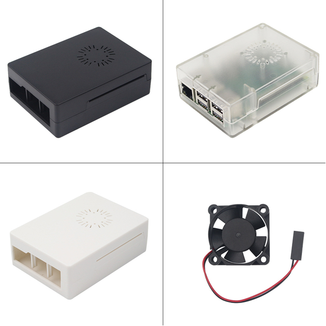 Newest Raspberry Pi 3 B Case Abs Box Plastic Cover Cooling Fan