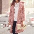 2016 Мода Зимы Кашемира Пальто Женщин Длинное Пальто Turn Down Воротник Элегантный Шерстяное Пальто Случайный Верхней Одежды