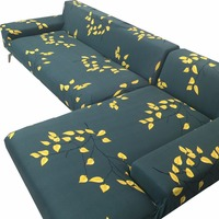 Spandex Stretch Green Color Yellow Leaves Printed L Shape Sofa Cover 1 2 4 3 Seater