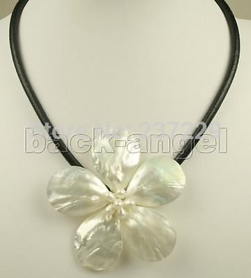 36448d4d537 Free shipping Wholesale price   18inches 70mm natural white mother of pearl  shell flower pendant necklace