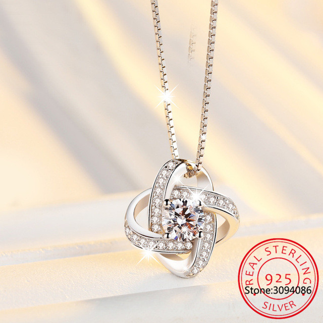 LEKANI New Arrivals 925 Sterling Silver Crystal Clover Necklaces Pendant Hot Sale Pure Silver Jewelry For Women