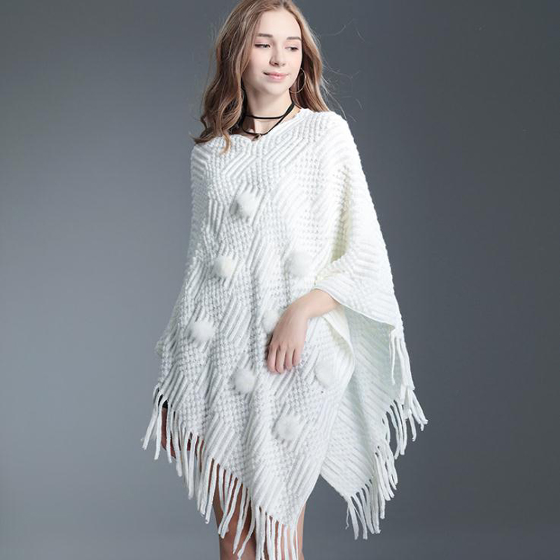 H/&E Womens Loose Fit Turtleneck Batwing Sleeve Cape Poncho Tassel Knit Sweater
