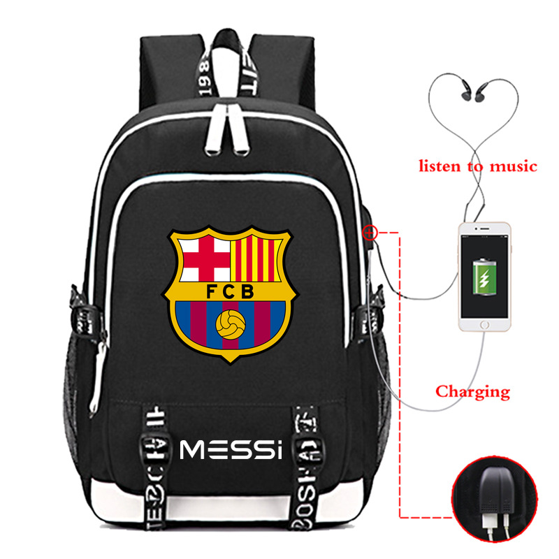Backpack Fashion Shoulders-Bags Travel-Bag Usb-Charger Printed Teenagers Messi Lionel