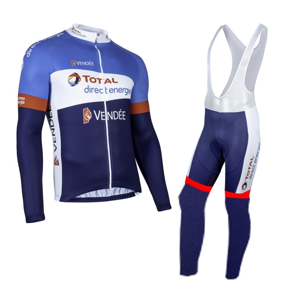 2019 spring thin pro team total direct energie cycling jersey kits mens breathable MTB bike Ropa ciclismo set gel pad
