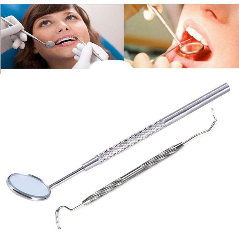 2Pcs Dental Mirror Stainless Steel Dental Scaler Tooth Calculus Remover Tooth Stains Tartar Tool Dentist Whiten Teeth Hygiene