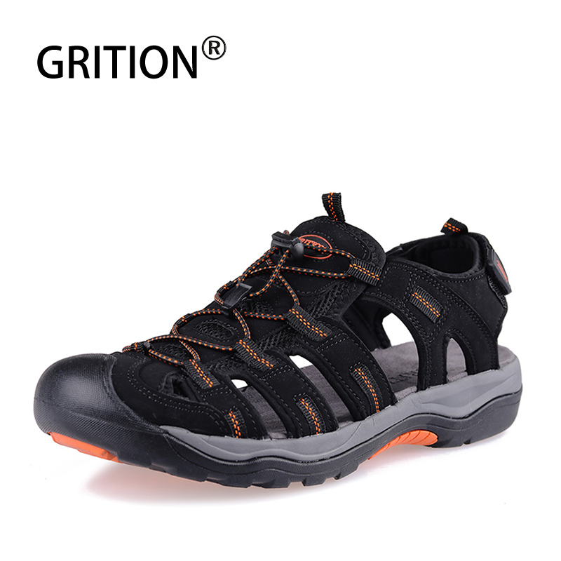 GRITION Men Sandals Outdoor Casual Toecap Increase Height Summer Beach Shoes Soft Breathable Rubber Trekking Sandals Gladiator