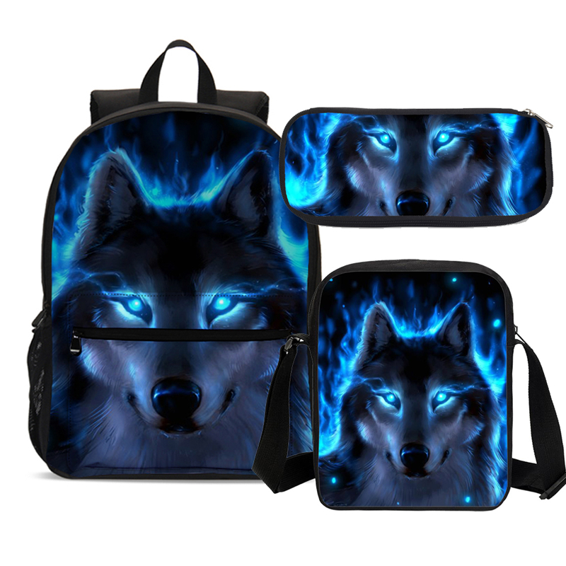 School-Bags Backpack-Set Rucksack Teenagers Large-Capacity Printing Boys Child for Blue