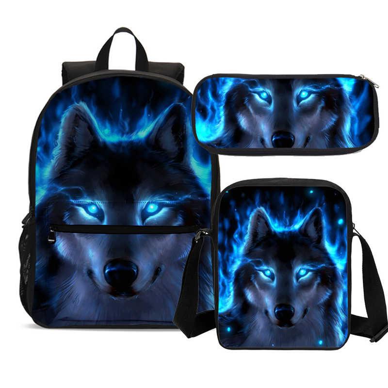 Sacos de escola para adolescentes meninos mochila grande capacidade azul lobo impressão escola mochila conjunto criança livro sacos ombro