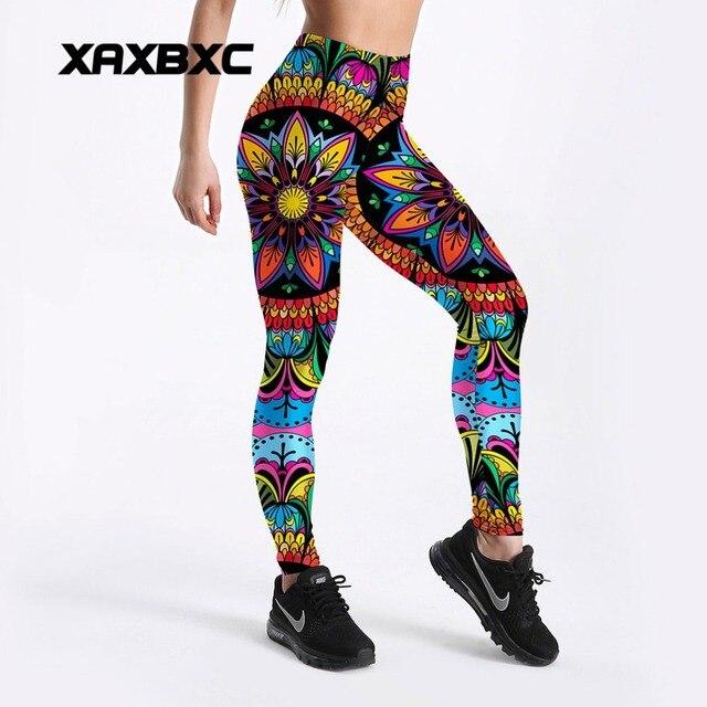 2018 New C4108 Colorful Mandala Floral 3D Printed Push Up Slim Tights Fitness Women Jogging GYM Yoga Pants Femme Sport Leggings