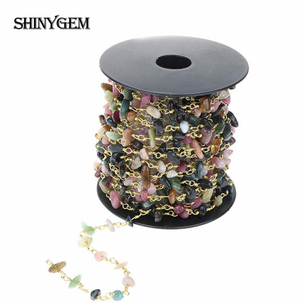 ShinyGem Natural Tourmaline Rhinestone Gravel Chips Rosary Bead Chain Gold Plating Bead Chain For Jewelry Making Findings 5M/Lot
