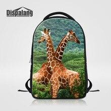 Dispalang жираф отпечатано женщины ноутбук рюкзак случайные колледжа bookbag мужская стильная повседневная туристические рюкзаки большой мешок школы