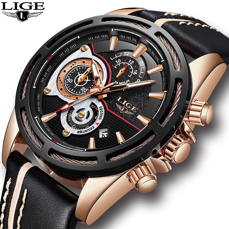 Men Watch Brand LIGE Fashion Trendy Sports Watches Luxury Chronograph Leather Waterproof Fashion Casual Men Quartz Watch цена 2017