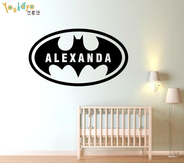Batman Custom Name Bat Boys Room Removable Vinyl Wall Sticker - Vinyl wall decals kids