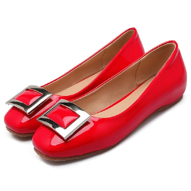 1c43e2771a Black Red Grey Designer Flats Shoes Women Vogue Comfort Slip On Ballerinas Patent  Leather Oxfords Ballet
