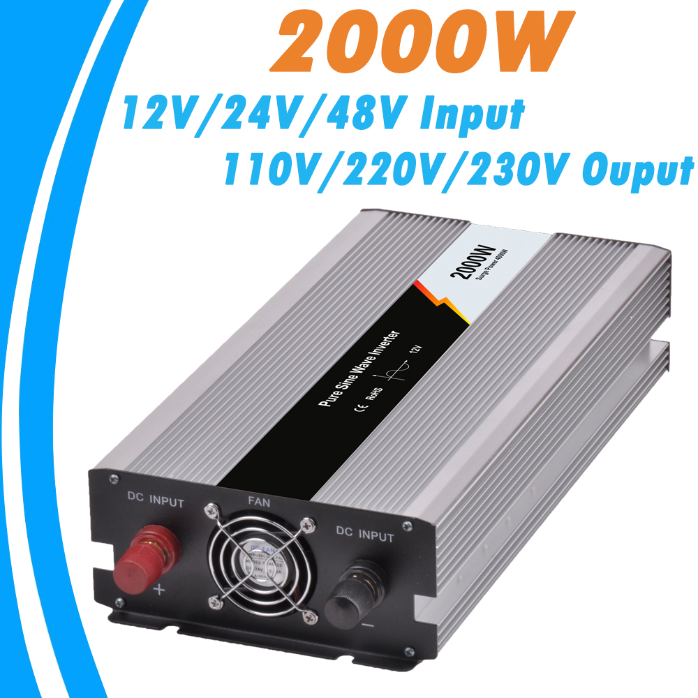 2000W Pure Sine Wave Off Grid Tie Inverter Optional 12V/24V/48V DC Input and 110V/220V AC Output Microprocessor Based Design NEW