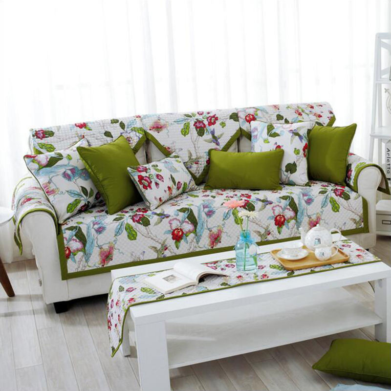 Pastoral Style 100% Cotton Sofa Cover Green Leaves Flowers Printed Slip Resistant  Sofa Pads