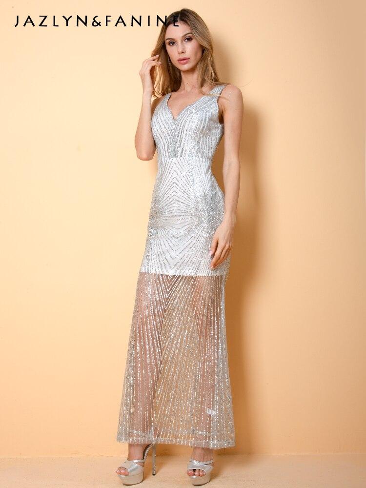 2019 nouveau col en v sans manches Sexy femmes robe longue formelle argent Sequin robe à paillettes sans bretelles soirée robe moulante