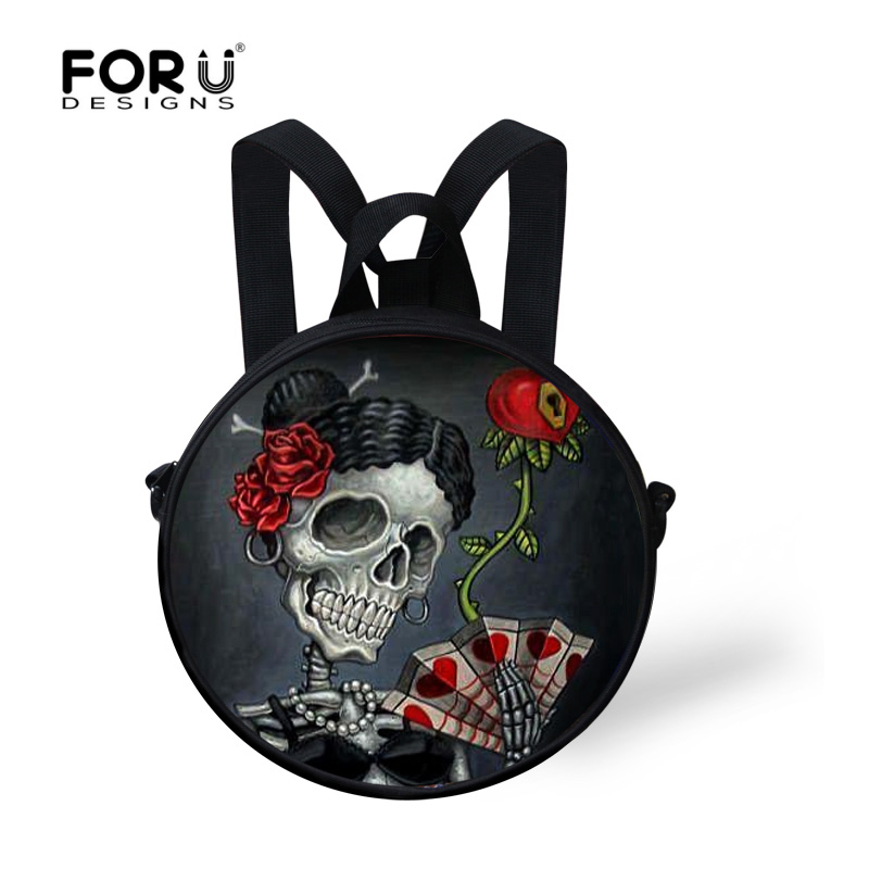 FORUDESIGNS Children Small School Bags Vintage Rock Punk Skull Print Backpack for Kindergarten Toddler Baby Kids Mochila Infant