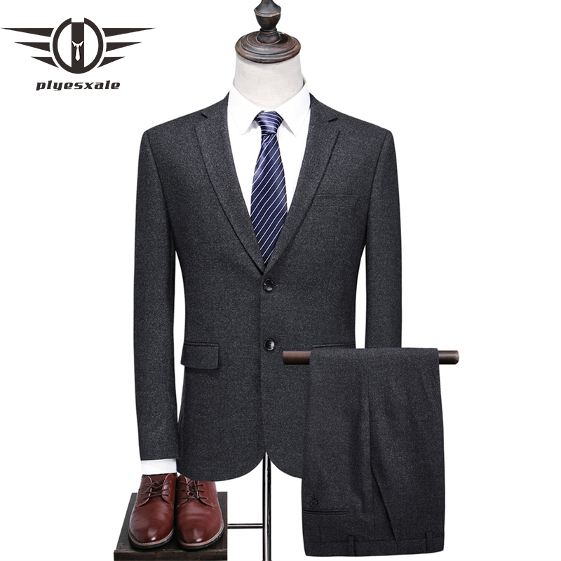 Plyesxale gris costumes pour hommes 2018 dernier manteau pantalon conceptions 2 pièces formel mâle costume marque de luxe Slim Fit hommes laine costumes Q366