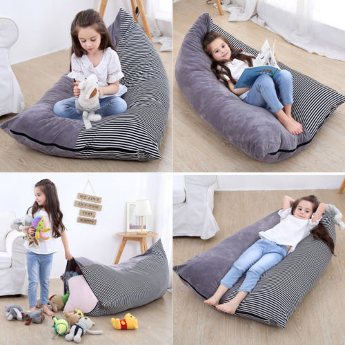 Strange Us 11 74 40 Off Stuffed Animal Storage Bean Bag Chair Portable Kids Clothes Toy Storage Bags Hot New Thicken Big Space Stripe Toy Storage Bag In Lamtechconsult Wood Chair Design Ideas Lamtechconsultcom