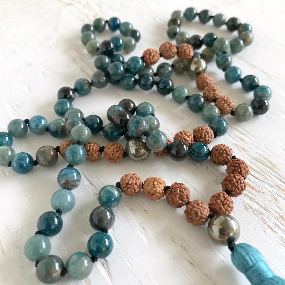 Takı ve Aksesuarları'ten Sallantılı kolye'de 108 Mala Boncuk Kolye Doğal Apatit Kolye El Düğümlü Yoga Takı Dua Püskül Kolye Meditasyon Kolye Boho Mala'da  Grup 3