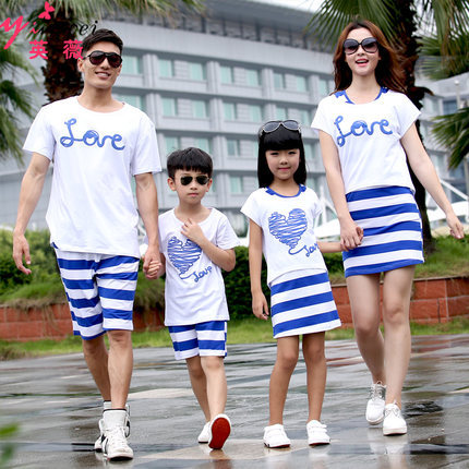 Family Clothing Sets Summer Style Short-sleeve navy striped Father And Son T-shirt+Shorts Set Matching Mother Daughter Dress купить недорого в Москве