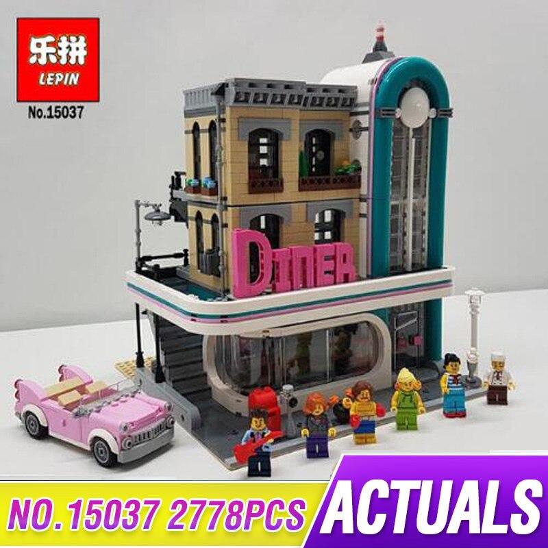 Lepin 15037 2778Pcs Streetview Series The Downtown Diner Set Building Blocks Bricks 10260 Model Funny Toys as Kid New Year Gift купальник sherman sm15037 15037