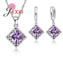 JEXXI Fashion Bridal Wedding Jewelry Set For Woman Square Princess Cut AAA Austrian Crystal Pendant Necklace Earring Set Female