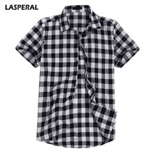 LASPERARL Short Sleeve Shirts Mens Blouse Chemise Homme Plus Size 3XL Casual Plaid Shirt Men Summer Fashion Business Slim Fit(China)
