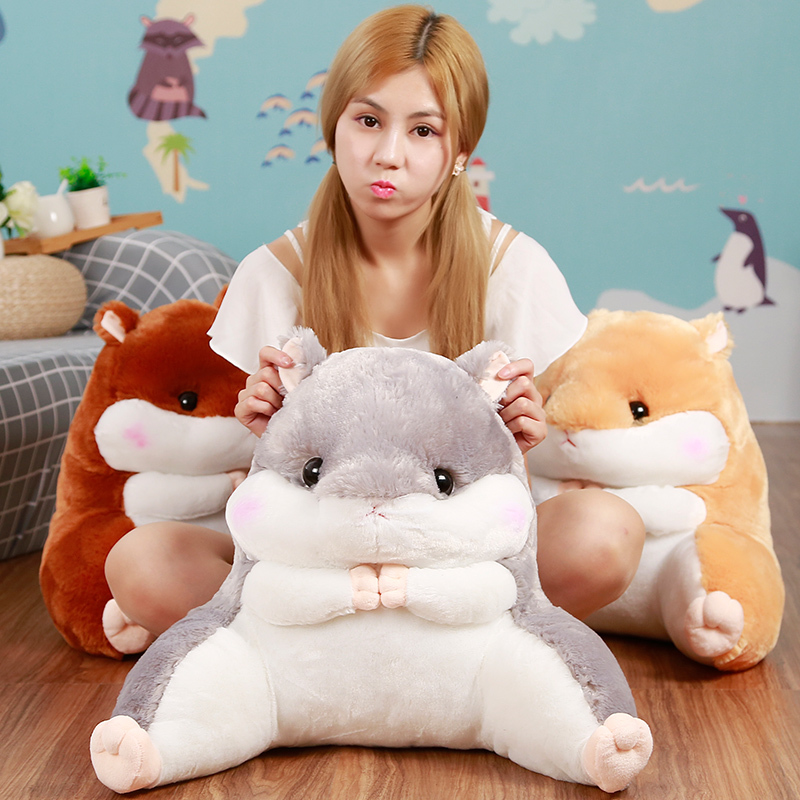 40 45cm Soft Cartoon Hamster Waist Support Pillow Plush Toy Nap Pillow Office Item For Lazy Day in Stuffed Plush Animals from Toys Hobbies