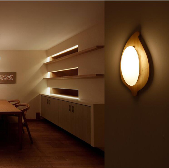 Nordic room bedlampje moderne Chinese stijl houten wandlamp balkon ...