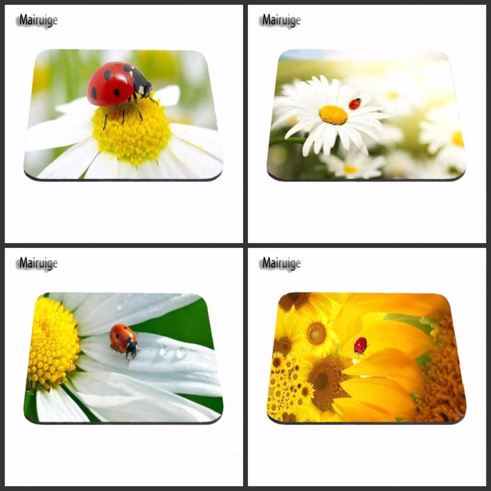 New Arrivals Print Ladybug On A  White Yellow Flowers  Gaming Mouse Pad Size 18*22cm And 25*29cm Mouse Mats Decorate Your Desk