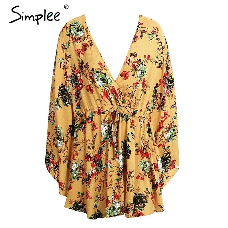 7990d5a63a Simplee flower Print batwing sleeve summer dress women Sexy v neck high  waist beach dress bow