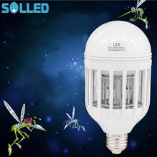 SOLLED 2 in 1 Bug Zapper LED Bulb + EU Plug Adapter Socket 85V-265V E27 Mosquito Killer Light Bulbs Indoor/Outdoor Lighting(China)