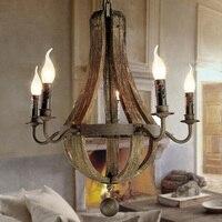 Ecolight Бесплатная доставка Винтаж Люстры 5 огни дерево люстра лампа Лофт свет Ретро свет d50 * H60cm