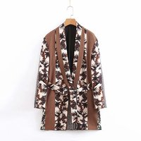 Autumn New Women's Retro Print Suit Jacket Kimono Blouses Woman 2019 Shirt