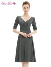 Cocktail Dresses Ever Pretty 2017 AS03632 3/4 Sleeves Hot Selling V Neck Pleated High Stretch Plus Size Short Dresses Women(China)