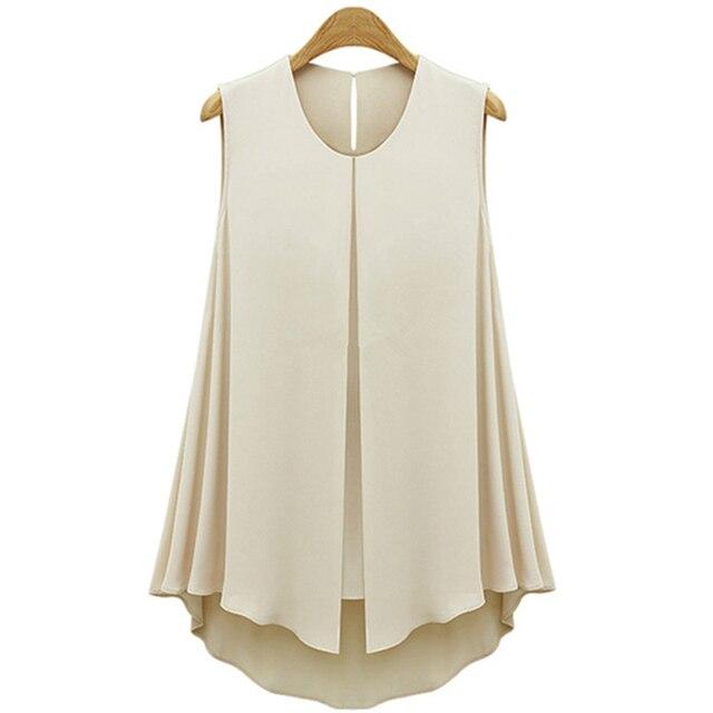 11019b68b7c Летние Стильные шифоновые блузки абрикосового голубого цвета женские модные  топы с оборками без рукавов с
