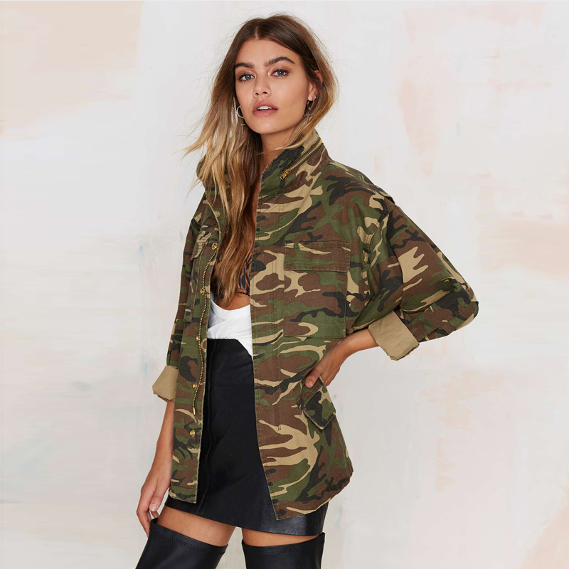 OLGITUM 2017 Spring Vintage Camouflage Army Green Zipper Button font b Jackets b font Blouses Outwear