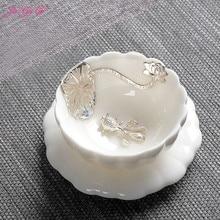 Chinese Porcelain Gaiwan China Jingdezhen  Bowl 60ml 925 Fine Silver teapot Master Dragon Teacup Tea Set Gift Package