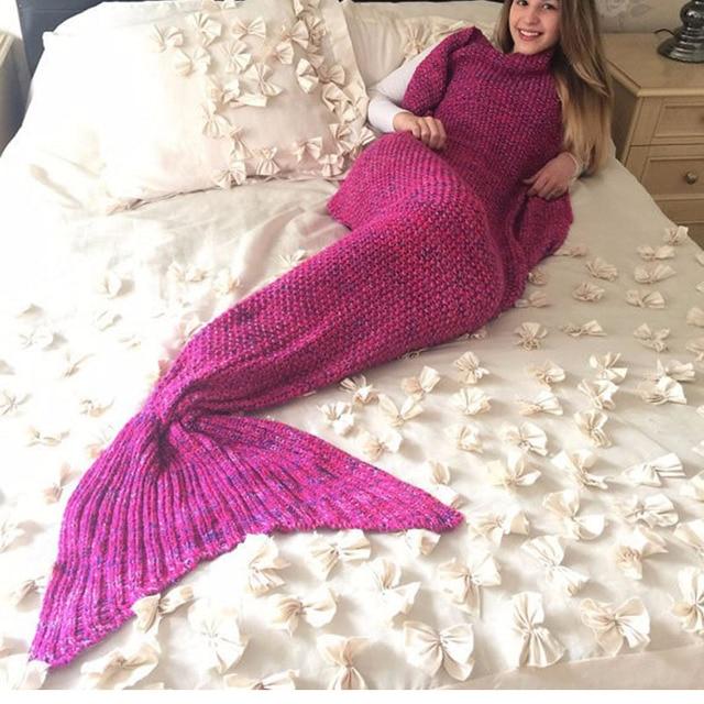 Saco de dormir Vancol Tiro Manta de Ganchillo Hecho A Mano de Punto Mermaid Tail 180*90 CM Tamaño Grande de Adultos Sirena Larga Manta