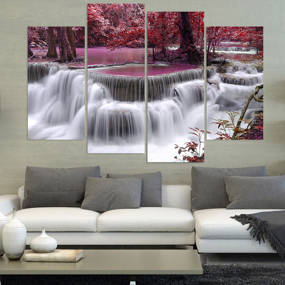 4 Piece Canvas Painting Waterfalls Trees Hd Printed Canvas Art Prints Wall Art Home Decor Poster