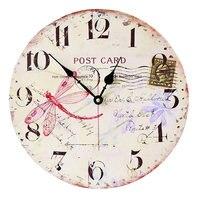 Europa e América Estilo Sem Aro Redondo Relógio Arte Moda Relógio de Parede de Madeira Mobiliário Chique Libélula Mudo Relógios Digitais para o Café