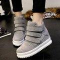 Platform Women Shoes 2016 Autumn Korean Hidden Heel Flock Fashion Wedge Casual Shoes Flats Woman WSN3