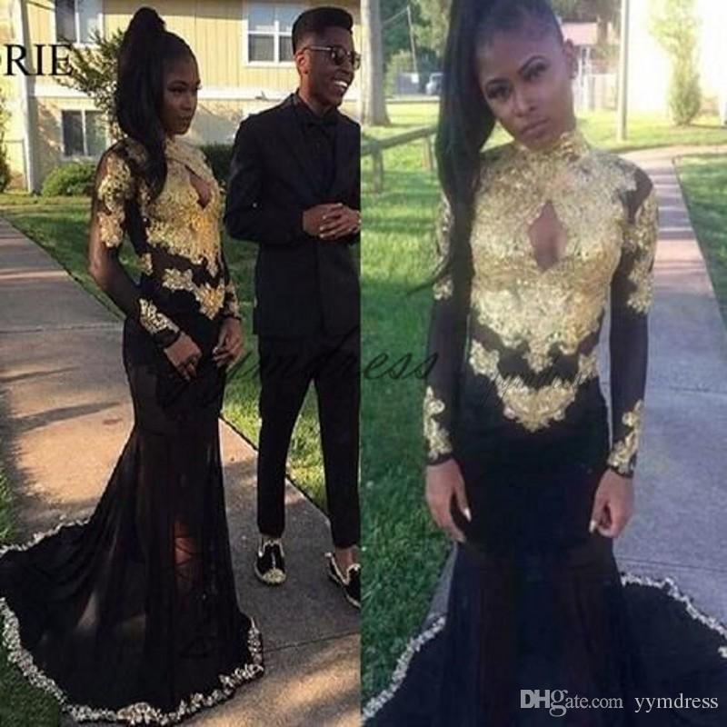 Black Evening Dress 2019 Keyhole Neck Sheer Long Sleeve Gold Appliques Africa Mermaid Prom Gowns Formal Party Dresses Custom