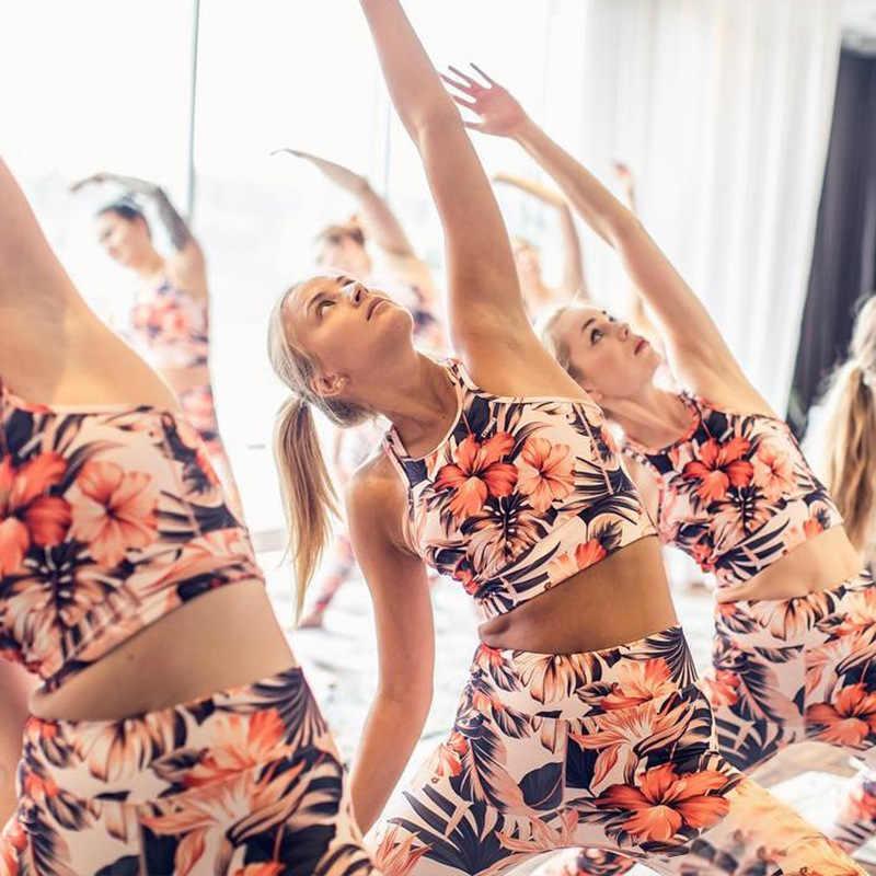 LAISIYI Narciso Impressão Terno Dos Esportes de Verão Duas Peças Conjuntos de Designer de Moda de Nova Cintura Elástica Respirável Top Leggins Gymwear