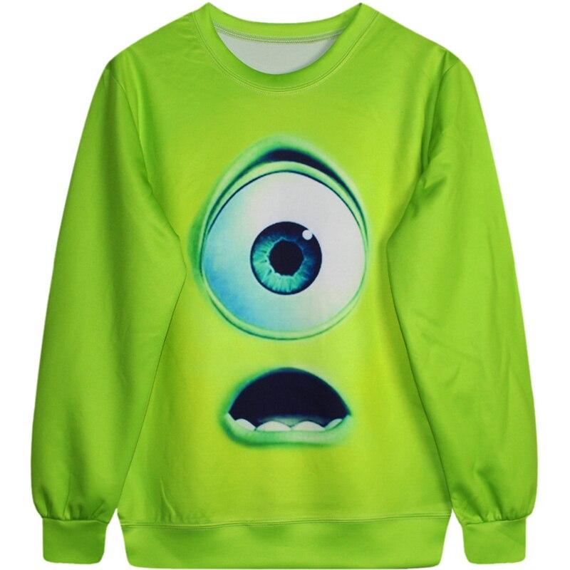 Harajuku 3D Print Monsters Mike Wazowski Sweatshirts Fashion Long sleeve Cartoon Big Eye Green Hoodies Street Tops Pullover