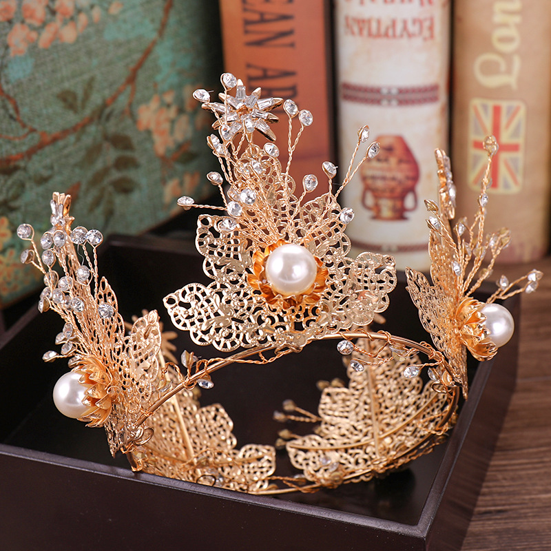 Copper Wire Baroque Gold Luxury Full Crystal Big Crown Tiara Large Crystal Crown Princess Bride Wedding Headpiece Headdress Gift