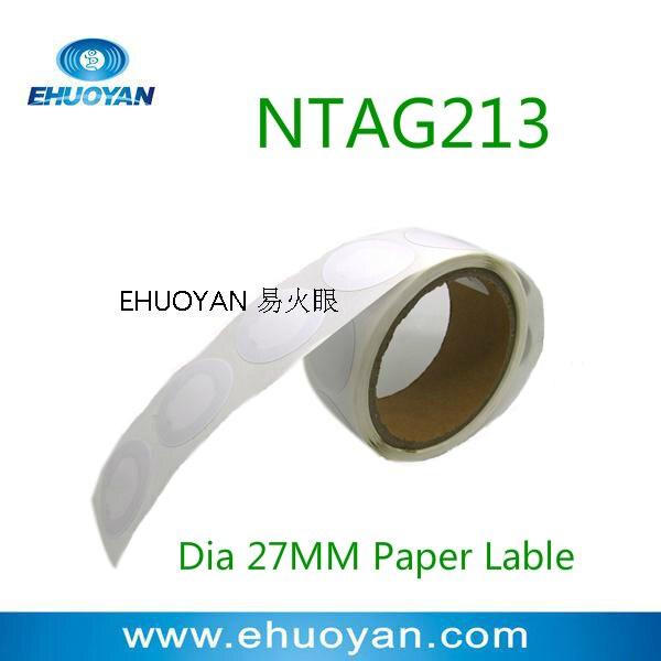 100pcs/lot RFID NFC Sticker /NFC Tag/NFC Label   NTAG213 Round 27mm White Paper
